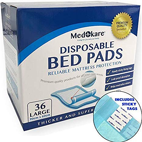 Medokare Disposable Incontinence Bed Pads with adhesive