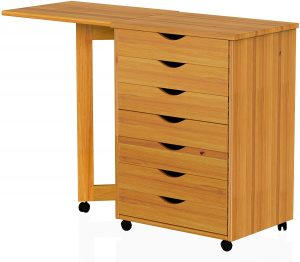 ADEPUTS 7 Drawer Gate Leg Roll Cart with Desk Solid Wood, Pine