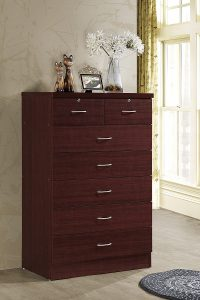 Hodedah 7 Drawer Chest, Five Large Drawers, Two Smaller Drawers with Two Locks