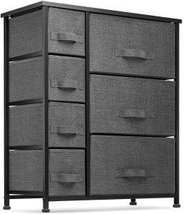 Seseno 7 Drawers Dresser - Furniture Storage Tower Unit for Bedroom, Hallway, Closet, Office Organization - Steel Frame, Wood Top, Easy Pull Fabric Bins BlackCharcoal