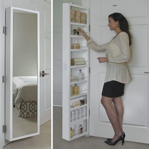 Cabidor Deluxe  Mirrored  Behind The Door  Adjustable  Medicine, Bathroom, & Kitchen Storage Cabinet