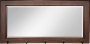 DesignOvation Pub Mirror with 5 Metal Hooks