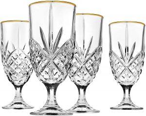 Godinger Gold Banded 4 Piece Crystal Glasses (Best Budget Product)
