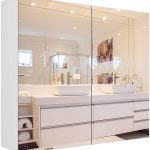 Homfa-Bathroom-Mirror-Cabinet-27.6-X-23.6-Inch-Wall-Mounted-Medicine-Cabinet-with-Adjustable-Shelf-Storage-Mirror-Cabinet-with-Double-Doors-Recessed-or-Surface-Mounting-White