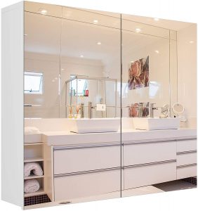 This image has an empty alt attribute; its file name is Homfa-Bathroom-Mirror-Cabinet-27.6-X-23.6-Inch-Wall-Mounted-Medicine-Cabinet-with-Adjustable-Shelf-Storage-Mirror-Cabinet-with-Double-Doors-Recessed-or-Surface-Mounting-White-963x1024.jpg Homfa Bathroom Mirror Cabinet, Wall Mounted Medicine Cabinet with Adjustable Shelf, Storage Mirror Cabinet with Double Doors, Recessed or Surface Mounting-White