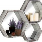 MyGift-Rustic-Torched-Wood-Hexagon-Wall-Mounted-Floating-Shelves-with-Mirrored-Backing