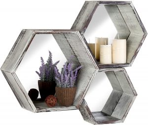 MyGift Rustic Torched Wood Hexagon Wall Mounted Floating Shelves with Mirrored Backing