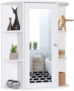 Tangkula Bathroom Cabinet, Single Door Wall Mount Medicine Cabinet with Mirror