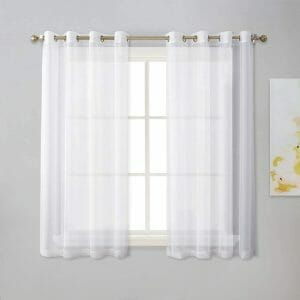 Grommet top white sheer curtains set of 2