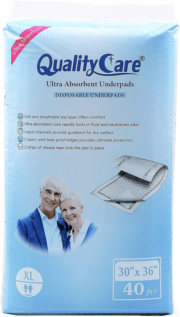 QualityCare ault disposable underpads with adhesives