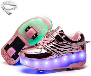 Ehauuo Kids USB Charging LED Light up Shoes with Wheels Retractable Roller Skates Shoes